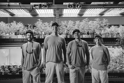 Mike Di Tomasso, Matt Lavallee, Chris Williams and Chris Motyka are among about 50 employees of Champlain Valley Dispensary and Southern Vermont Wellness, which operate Vermont's largest legal marijuana-growing facility and supply medical marijuana dispensaries in Burlington and Brattleboro. Courtesy photo /Jessica Sipe