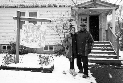 Beth Carlson and Wray Gunn Sr. stand in front of the former Clinton A.M.E. Zion Church in Great Barrington. Carlson and Gunn both serve on the board of a 2-year-old nonprofit group that hopes to transform the building into a visitor and cultural center celebrating local African-American history. Susan Sabino photo