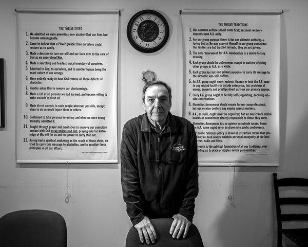 Tom Haley, executive director of the Turning Point Recovery Center in Bennington, stands in the meeting room of the center, which helps people who are recovering from addiction. photo by Joan K. Lentini